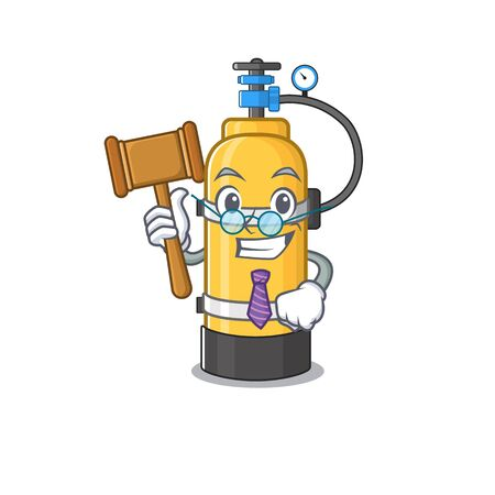 Smart Judge oxygen cylinder in mascot cartoon character style. Vector illustration