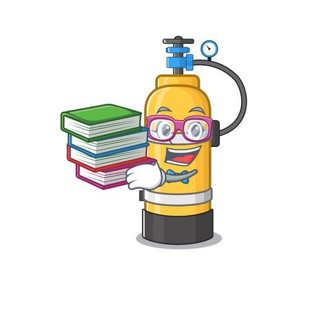 Cool and clever Student oxygen cylinder mascot cartoon with book. Vector illustration