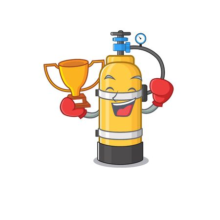 fantastic Boxing winner of oxygen cylinder in mascot cartoon style. Vector illustration