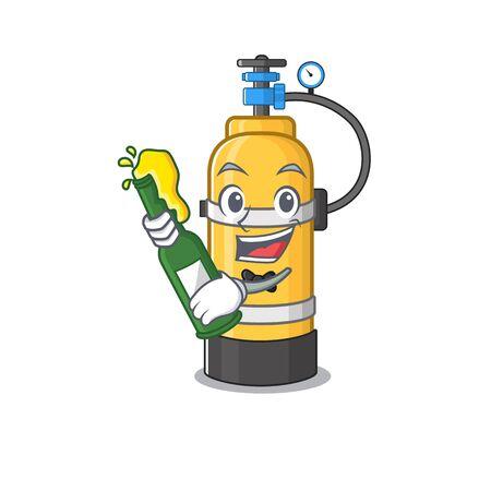 Diseño de dibujos animados de mascota de cilindro de oxígeno con botella de cerveza. Ilustración vectorial