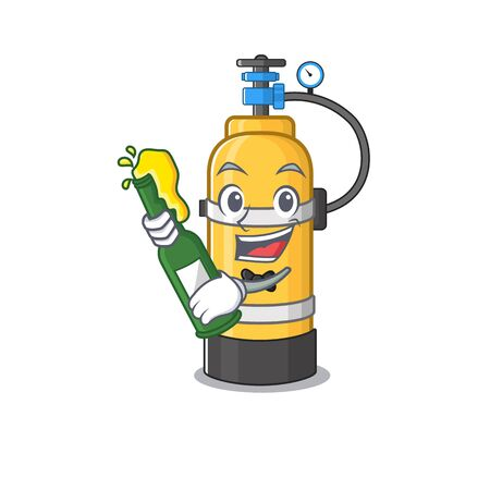 mascot cartoon design of oxygen cylinder with bottle of beer. Vector illustration