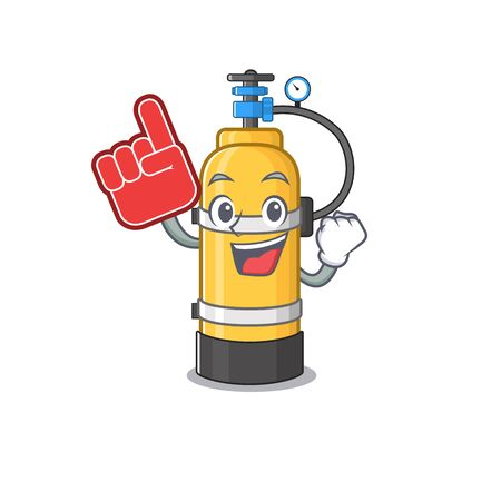 Oxygen cylinder mascot cartoon style holding a Foam finger. Vector illustration