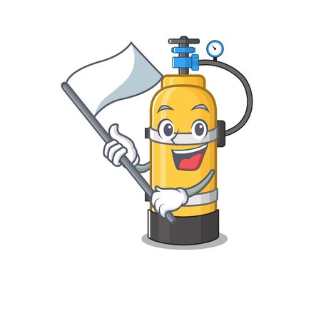 Funny oxygen cylinder cartoon character style holding a standing flag. Vector illustration Иллюстрация