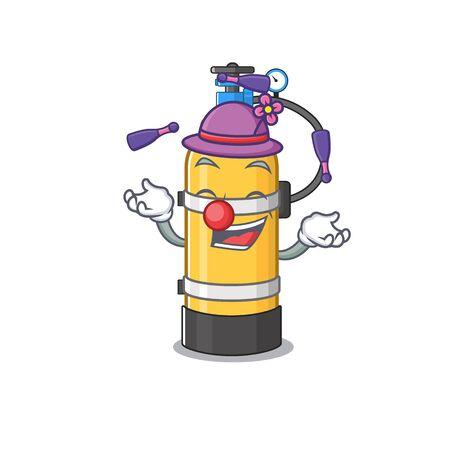 Smart oxygen cylinder cartoon character design playing Juggling. Vector illustration Иллюстрация