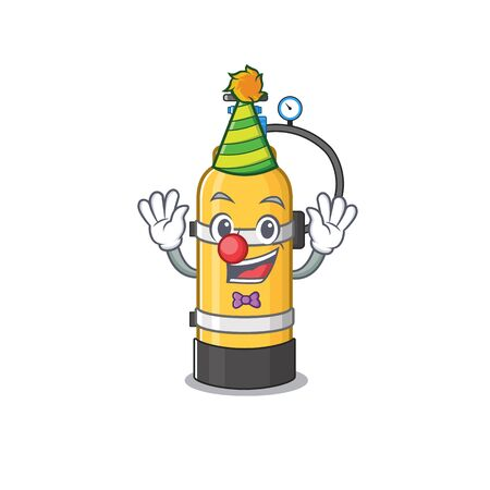 Funny Clown oxygen cylinder cartoon character mascot design. Vector illustration Иллюстрация