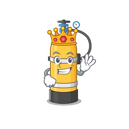 A stunning of oxygen cylinder stylized of King on cartoon mascot style. Vector illustration Иллюстрация