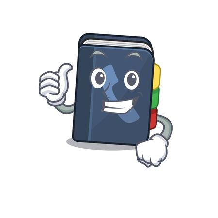 Cheerfully phone book making Thumbs up gesture. Vector illustration