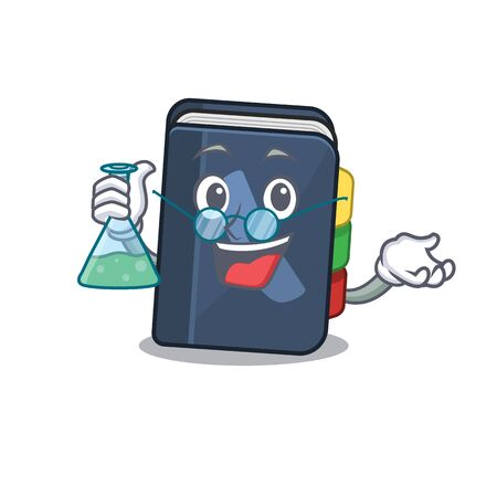 Smart Professor phone book cartoon character with glass tube. Vector illustration