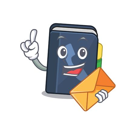 Cheerfully phone book mascot design with envelope. Vector illustration