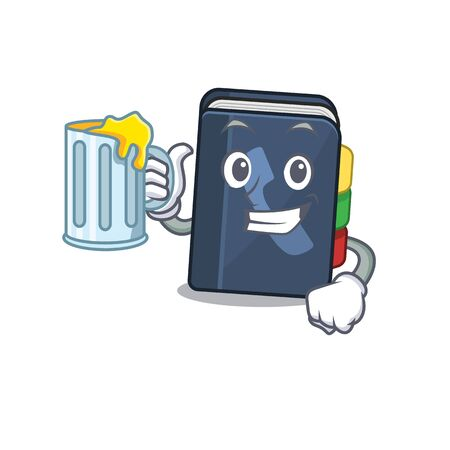 Happy phone book mascot design with a big glass. Vector illustration Vettoriali