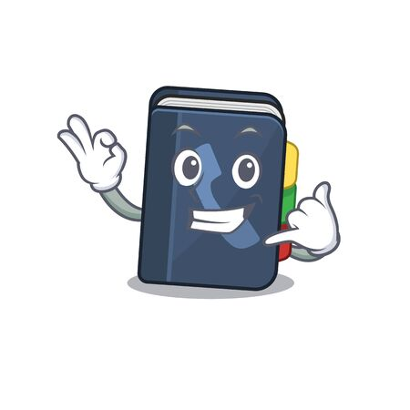 Call me funny phone book mascot picture style. Vector illustration