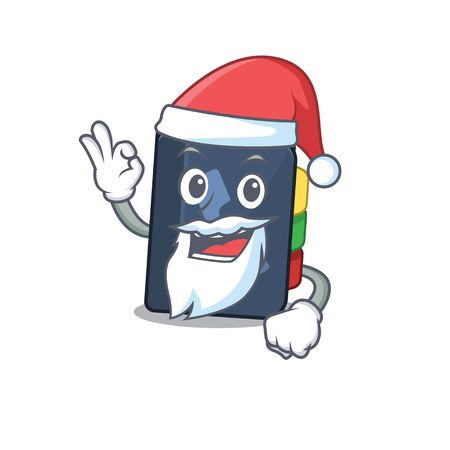 A picture of Santa phone book mascot picture style with ok finger. Vector illustration