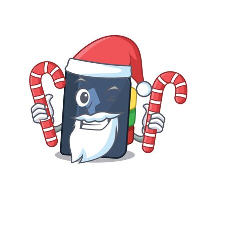 Phone book Cartoon character in Santa costume with candy. Vector illustration
