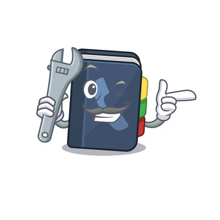 Smart Mechanic phone book cartoon character design. Vector illustration