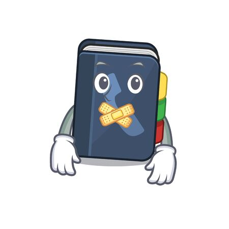 a silent gesture of phone book mascot cartoon character design. Vector illustration Vettoriali