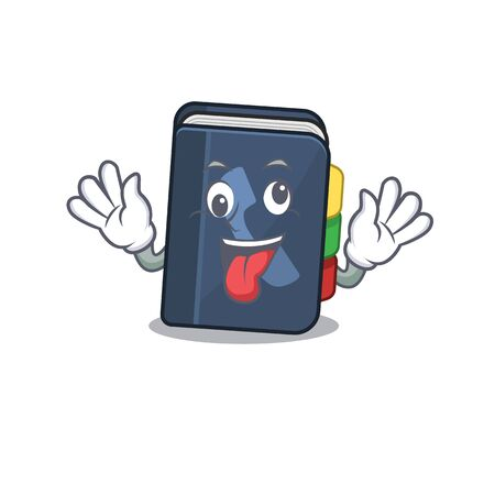 Phone book Cartoon character style with a crazy face. Vector illustration Vettoriali