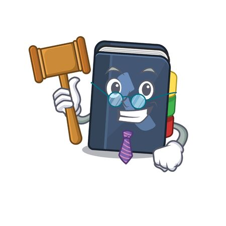 Smart Judge phone book in mascot cartoon character style. Vector illustration Vettoriali