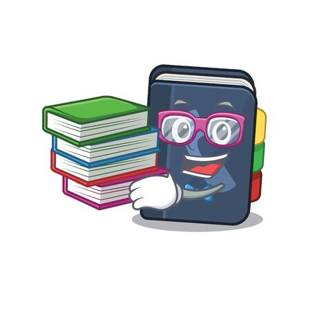 Cool and clever Student phone book mascot cartoon with book. Vector illustration