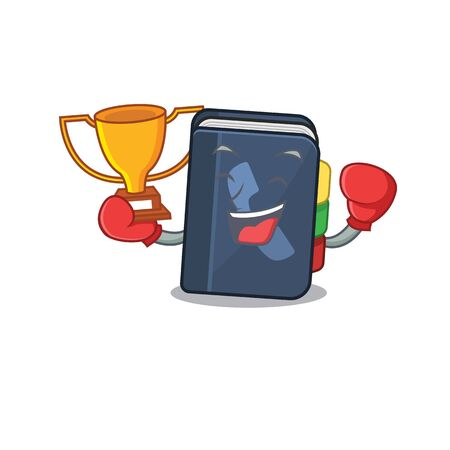 fantastic Boxing winner of phone book in mascot cartoon style. Vector illustration Illustration