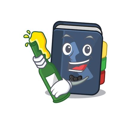 mascot cartoon design of phone book with bottle of beer. Vector illustration Vecteurs