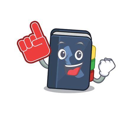 Style de dessin animé de mascotte d'annuaire téléphonique tenant un doigt de mousse. Illustration vectorielle