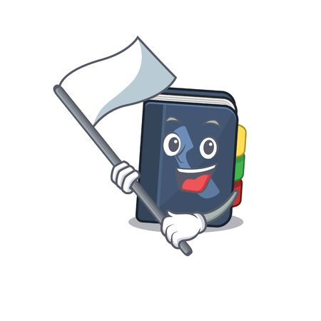 Funny phone book cartoon character style holding a standing flag. Vector illustration Vettoriali