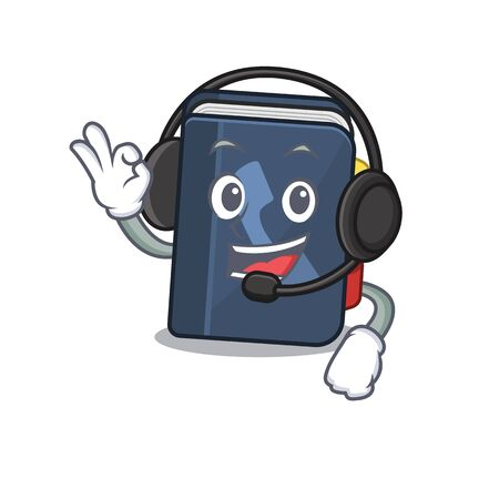 Smiley phone book cartoon character design wearing headphone. Vector illustration