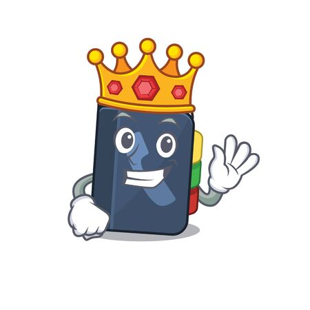 A stunning of phone book stylized of King on cartoon mascot style. Vector illustration Vettoriali