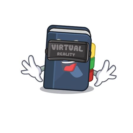 Trendy phone book character wearing Virtual reality headset. Vector illustration
