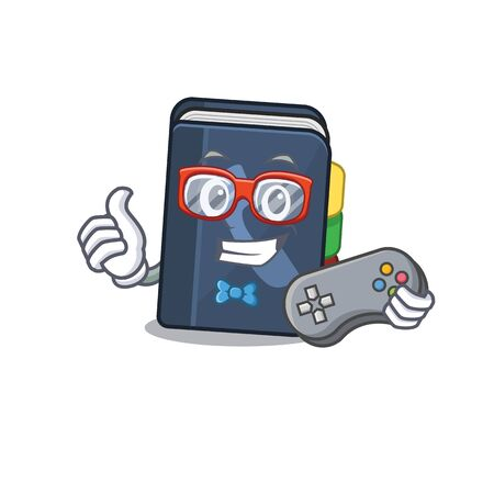 Smiley gamer phone book cartoon mascot style. Vector illustration Illustration