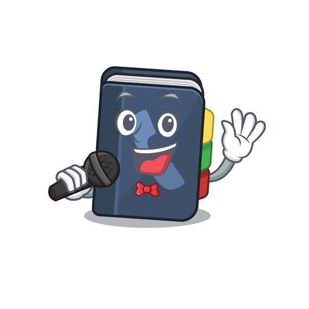 Happy phone book singing on a microphone. Vector illustration