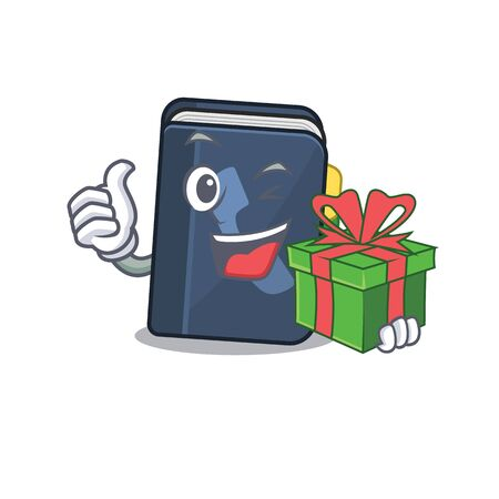 Smiley phone book character with gift box. Vector illustration Vettoriali