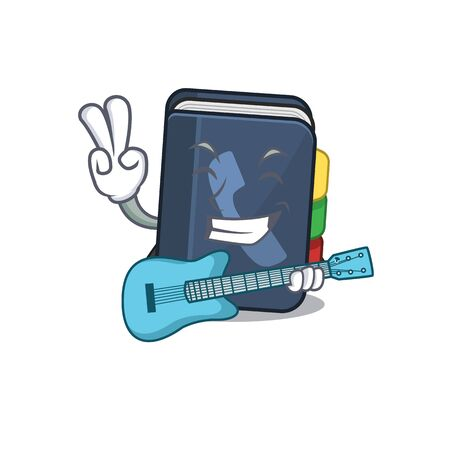 A mascot of phone book performance with guitar. Vector illustration