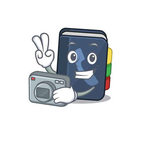 Cool Photographer phone book character with a camera. Vector illustration