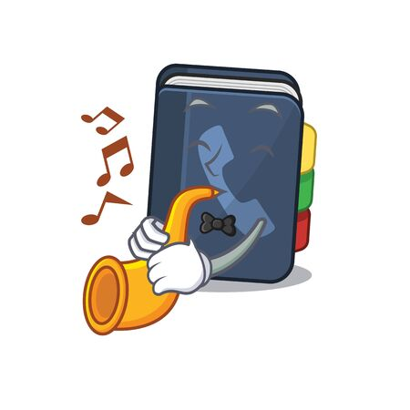 cartoon character style of phone book performance with trumpet. Vector illustration Vettoriali