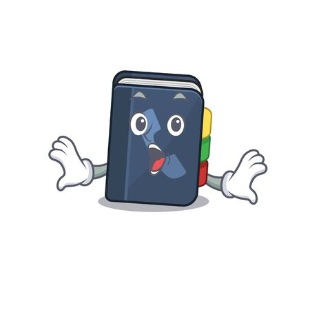 Phone book cartoon character design on a surprised gesture. Vector illustration Vettoriali