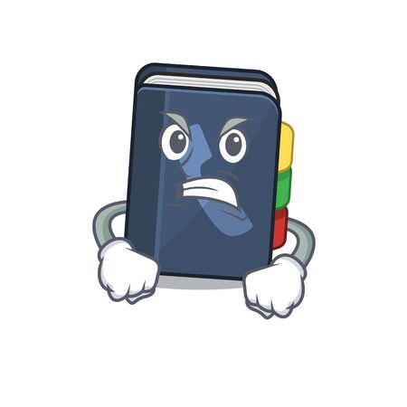 Phone book cartoon character design having angry face. Vector illustration