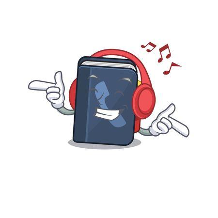Listening music phone book mascot cartoon character design. Vector illustration