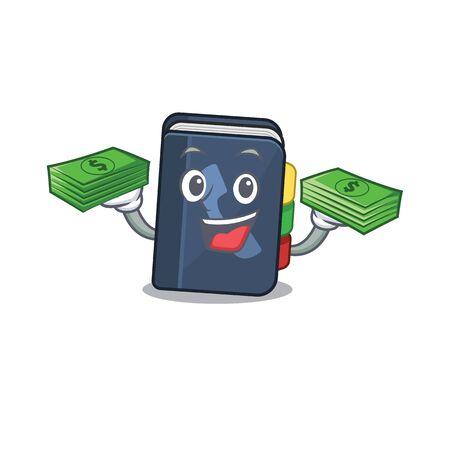 heureux personnage de l'annuaire téléphonique riche avec de l'argent sur les mains. Illustration vectorielle Vecteurs