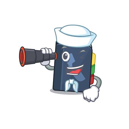 Phone book cartoon happy Sailor style with binocular. Vector illustration Illustration