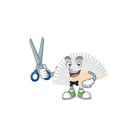 Cool friendly barber white chinese folding fan cartoon character style. Vector illustration 向量圖像
