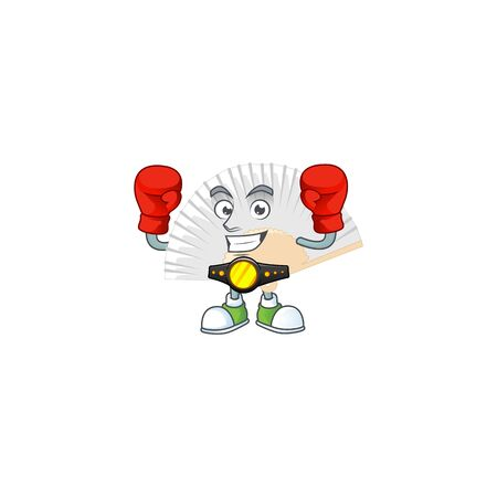 Happy Face Boxing white chinese folding fan cartoon character design. Vector illustration