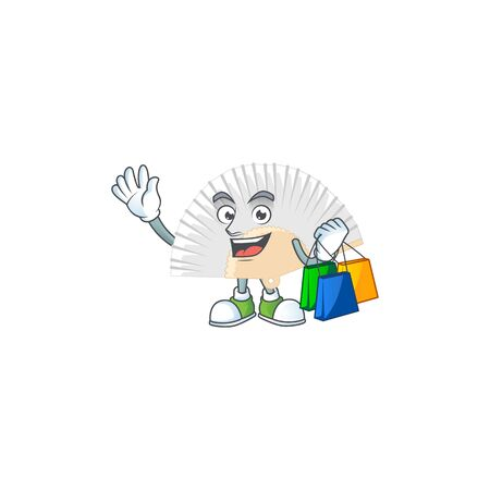 A happy rich white chinese folding fan waving and holding Shopping bag