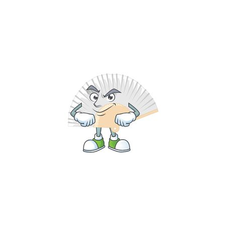 White chinese folding fan mascot cartoon character style with Smirking face