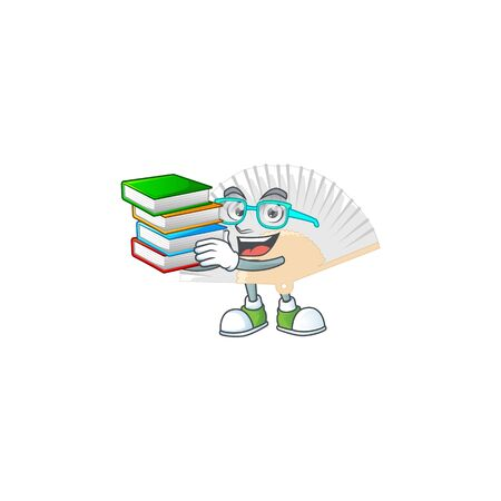 Cool and clever Student white chinese folding fan mascot cartoon with book