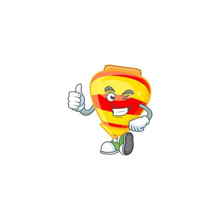 An icon of chinese gold tops toy making Thumbs up gesture. Vector illustration