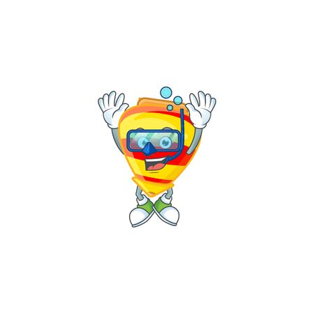cartoon character of chinese gold tops toy wearing Diving glasses