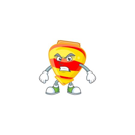 cartoon character of chinese gold tops toy with angry face. Vector illustration
