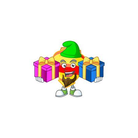 Estilo chino lindo de la mascota de la historieta del juguete de las tapas doradas con la lengua fuera