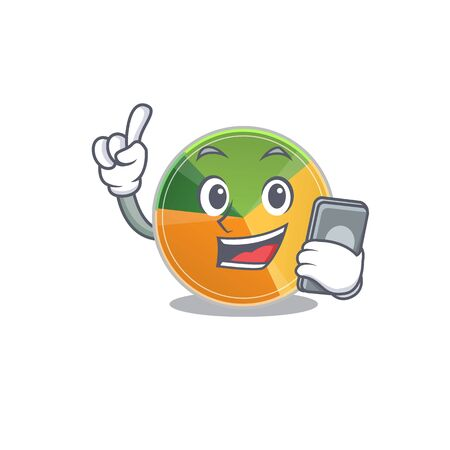 Cartoon design of pie chart speaking on a phone. Vector illustration
